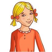 Chica de dibujos animados adolescente con el pelo rubio y peinado con cinta — Vector de stock