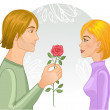 Young couple. Man gives a rose to woman, eps10 — Stock Vector #38911009