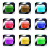Set of colorful glass square buttons, eps10 — Stock Vector