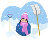 Young woman in snow tries to clean a road with shovel — Stock Vector