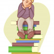 Stock Vector: Boy is under stress with lot of books to read, eps10