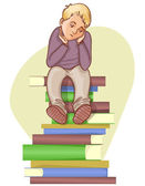 Boy is under stress with lot of books to read, eps10 — Stock Vector