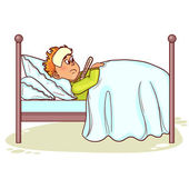 Ill little man with fever in bed — Stock Vector