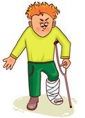 Ill little man with broken leg — Vector de stock