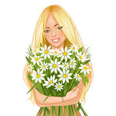 Young beautiful blond woman with bunch of flowers, eps10 — Stock Vector
