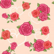 Seamless background with roses and hearts — Stock Vector