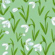 Floral seamless background with white snowdrops — Stock Vector