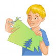Boy is cutting color paper with scissors — Stock Vector #43435567