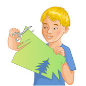Boy is cutting color paper with scissors — Stockvektor