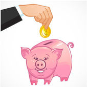 Human hand puts a coin in cute piggy bank, eps10 — Stock Vector