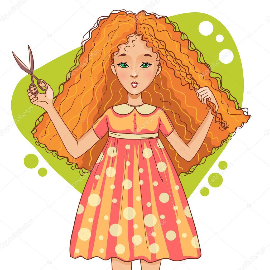 Ragazza dai capelli rossi simpatico cartone animato tagli