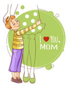 Little boy embraces his mother, eps10 — Stock Vector