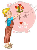 Little boy gives bouquet of tulips at mothers day, eps10 — Stock Vector