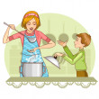 Mother and son tests food in the kitchen, eps10 — Vector de stock  #45930465