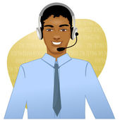 Young African American man a call operator, eps10 — Stock Vector