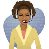 Young African American woman a call operator, eps10 — Stock Vector