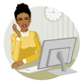 Young African American woman at the computer, eps10 — Stock Vector