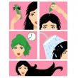 Icons set in flat design style with hair treatment, steps to prevent hair falling — Stock Vector