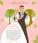 Young couple on the summer background. Invitation card for the summer wedding event — Stock Vector