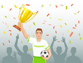 Footballer in uniform with winner cup on the background with silhouettes, eps10 — Stock Vector