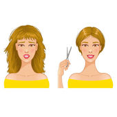 Young woman with hair-dress before and after haircut, eps10 — Stock Vector