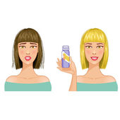 Young woman with hair-dress before and after coloration, eps10 — Stock Vector