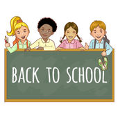 Cartoon multinational  schoolgirls and schoolboys at the blackboard, esp10 — Stockvector