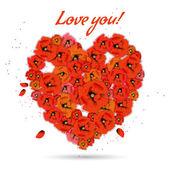 Corazón floral decorativo con amapolas sobre fondo blanco, eps10 — Vector de stock