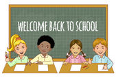 Cartoon multinational  schoolgirls and schoolboys at the blackboard, esp10 — Stockvektor