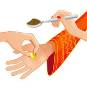 Vector image of ceremony at henna night, kina gecesi, a bride becomes coin and spoon of henna on her palms, eps10 — Stock Vector