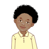 Teenager cartoon African American boy with curly hair — Stock Vector