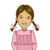 Teenager cartoon girl with two distinct braids — Stock Vector