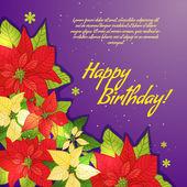 Blumen dekorative karte mit weihnachtsstern mit platz für ihren text, eps10 — Stockvektor