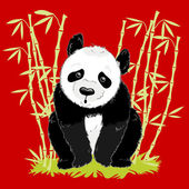 Vector big cartoon panda on red background with bamboo — Stock Vector