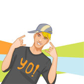 Young man, dj, hip-hop, eps10 — Stock Vector