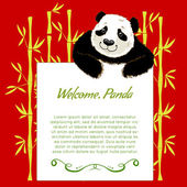 Big cartoon panda with board for your text — Stock Vector