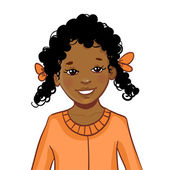 Teenager cartoon African American girl with curly hair — Stock Vector
