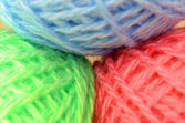 Balls of colored wool — 图库照片