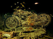 Motorbike inside wreck of the Thistlegorm — Stock Photo