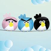 Birds Angry Sad espression — Stock Vector