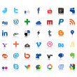 Social network icons colored - Stock Vector