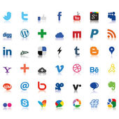 Social network icons colored — Stock Vector