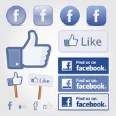 Facebook social set icon button like symbol — Stock Vector