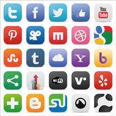 Sociale set icone quadrate — Vettoriale Stock
