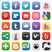 Społeczne zestaw ikon kwadrat — Wektor stockowy