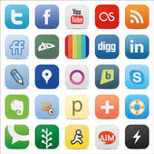 Social media square buttons — Stock Vector