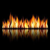 Burning fire flame on black background — Stock Vector