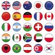 Set of Round Flags world top states — Vector de stock