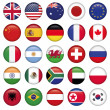 Stock Vector: Set of Round Flags world top states