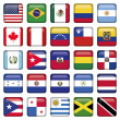 American Flags squared Icons - Stock Vector